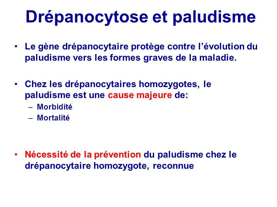 Drépanocytose et paludisme Le gène drépanocytaire protège contre lévolution du paludisme vers les formes graves de la maladie. Chez les drépanocytaire