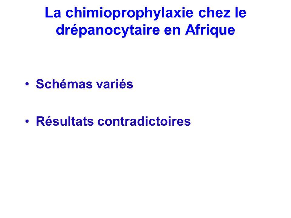 La chimioprophylaxie chez le drépanocytaire en Afrique Schémas variés Résultats contradictoires