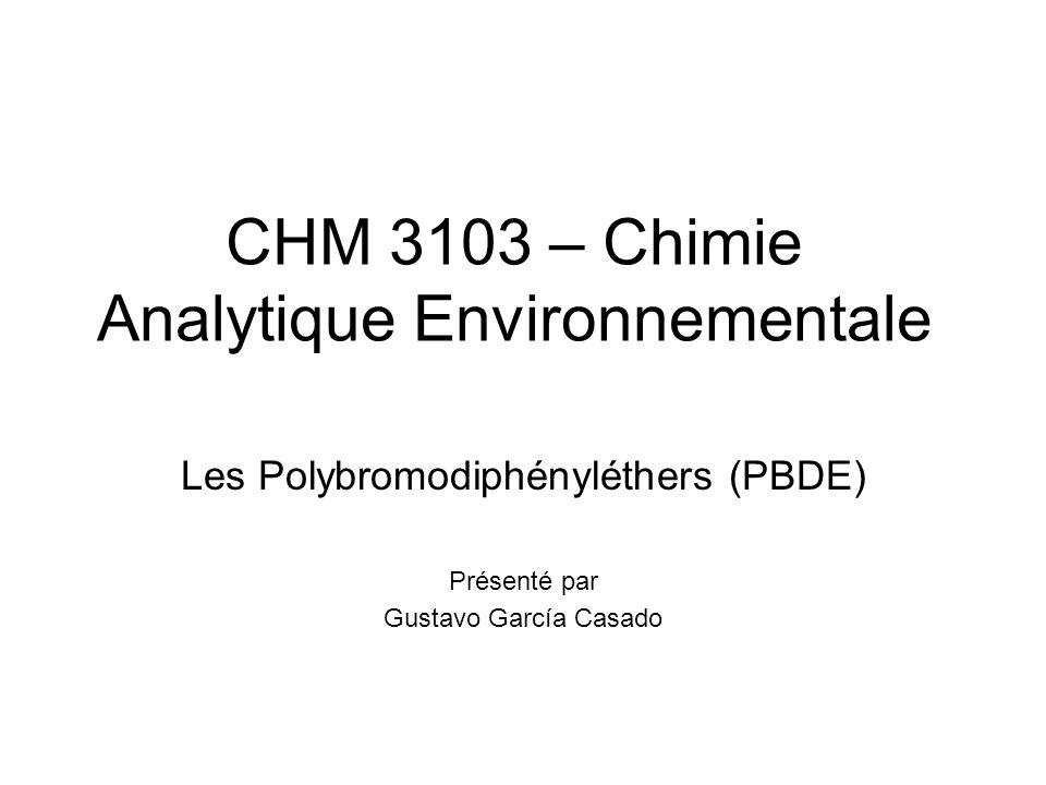 Les polybromodiphényléthers (PBDE) Les polybromodiphényléthers sont des composés chimiques synthétiques obtenus par fixation d`atomes de brome sur une molécule de biphényle éther en présence d`un catalyseur.