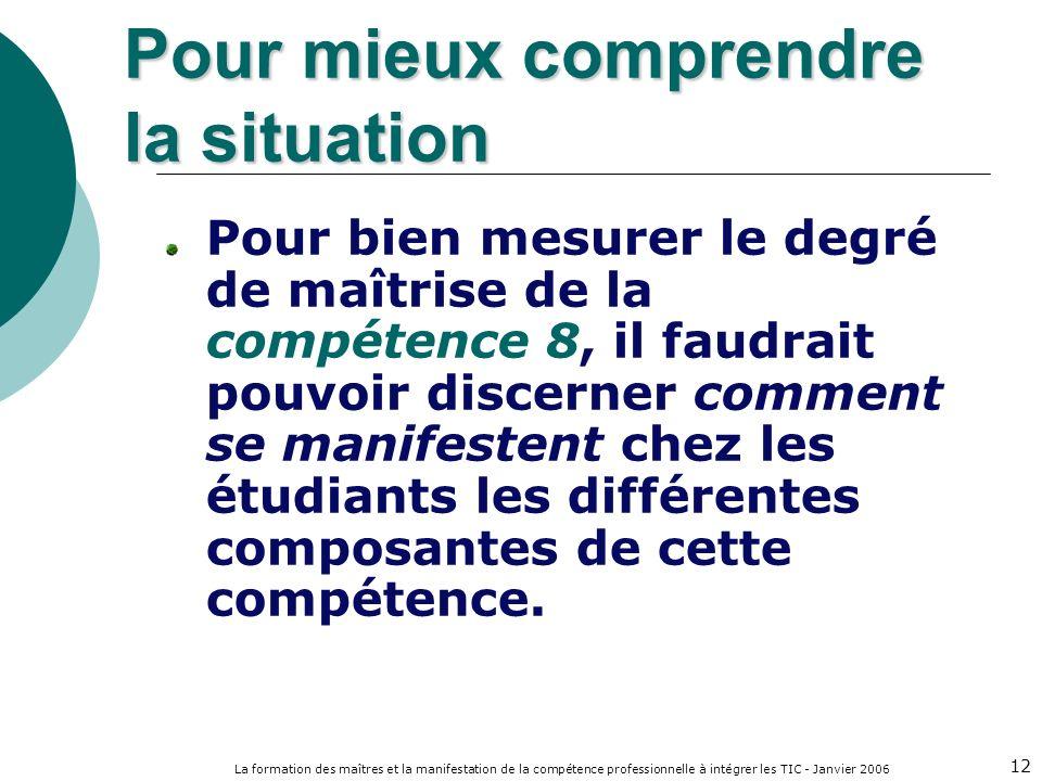 La formation des maîtres et la manifestation de la compétence professionnelle à intégrer les TIC - Janvier 2006 12 Pour bien mesurer le degré de maîtrise de la compétence 8, il faudrait pouvoir discerner comment se manifestent chez les étudiants les différentes composantes de cette compétence.