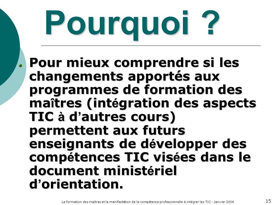 La formation des maîtres et la manifestation de la compétence professionnelle à intégrer les TIC - Janvier 2006 15 Pourquoi ? Pour mieux comprendre si