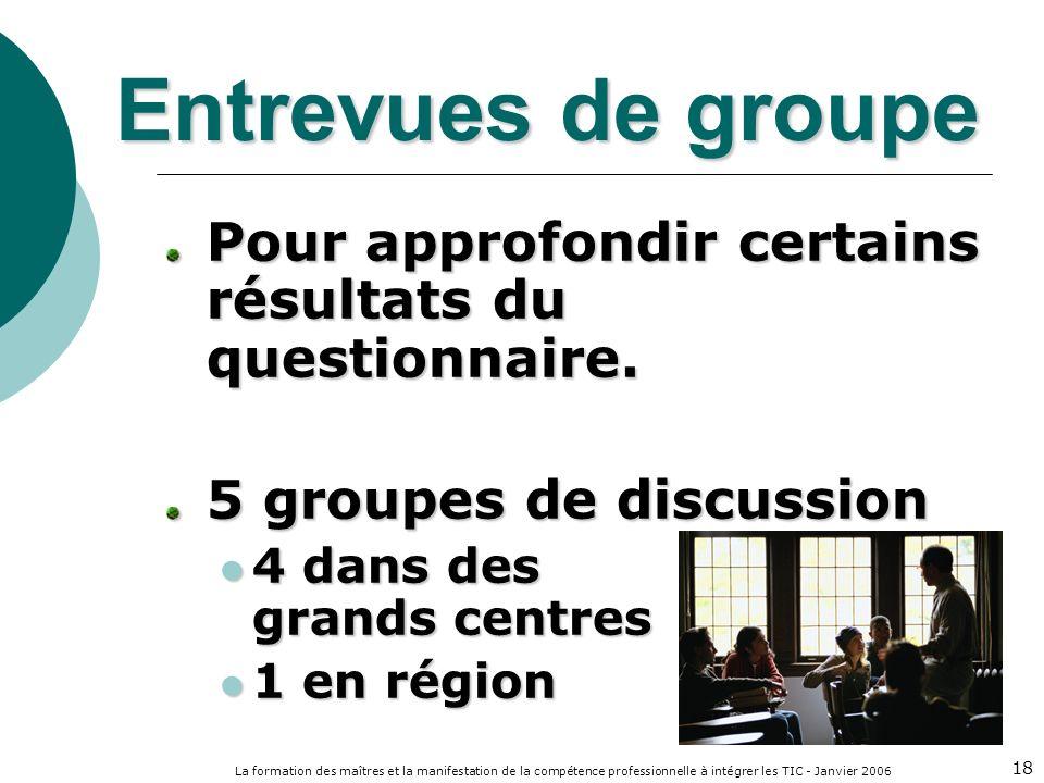La formation des maîtres et la manifestation de la compétence professionnelle à intégrer les TIC - Janvier 2006 18 Entrevues de groupe Pour approfondir certains résultats du questionnaire.