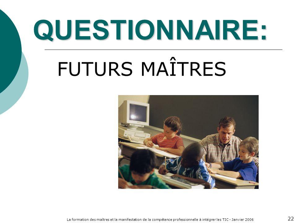 La formation des maîtres et la manifestation de la compétence professionnelle à intégrer les TIC - Janvier 2006 22 QUESTIONNAIRE: FUTURS MAÎTRES