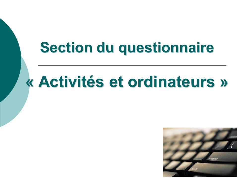 Section du questionnaire « Activités et ordinateurs »