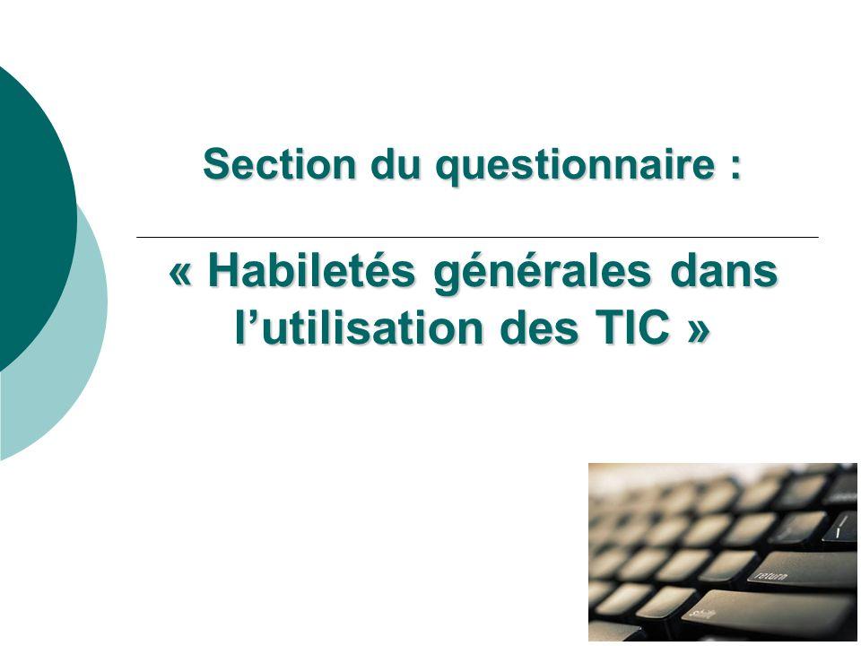 Section du questionnaire : « Habiletés générales dans lutilisation des TIC »