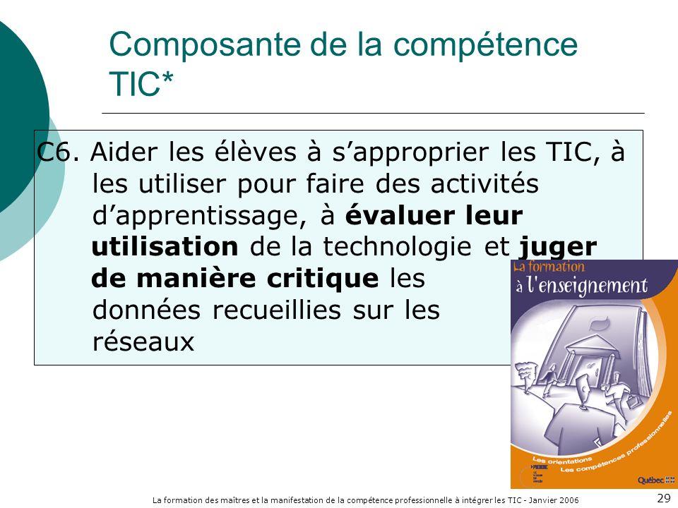 La formation des maîtres et la manifestation de la compétence professionnelle à intégrer les TIC - Janvier 2006 29 C6. Aider les élèves à sapproprier