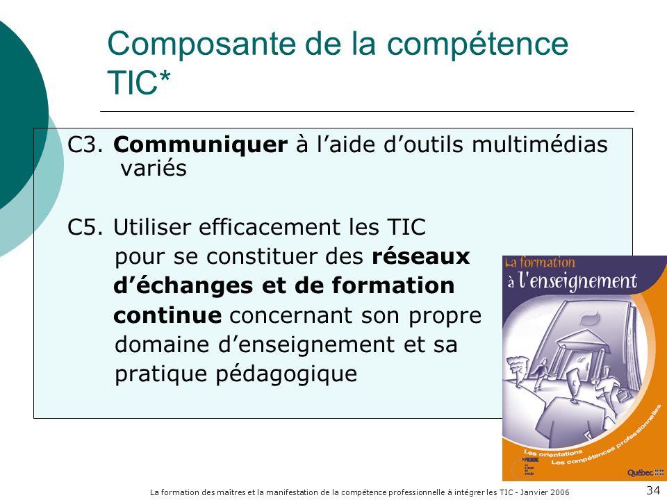 La formation des maîtres et la manifestation de la compétence professionnelle à intégrer les TIC - Janvier 2006 34 C3. Communiquer à laide doutils mul