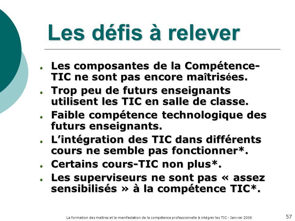 La formation des maîtres et la manifestation de la compétence professionnelle à intégrer les TIC - Janvier 2006 57 Les défis à relever Les composantes