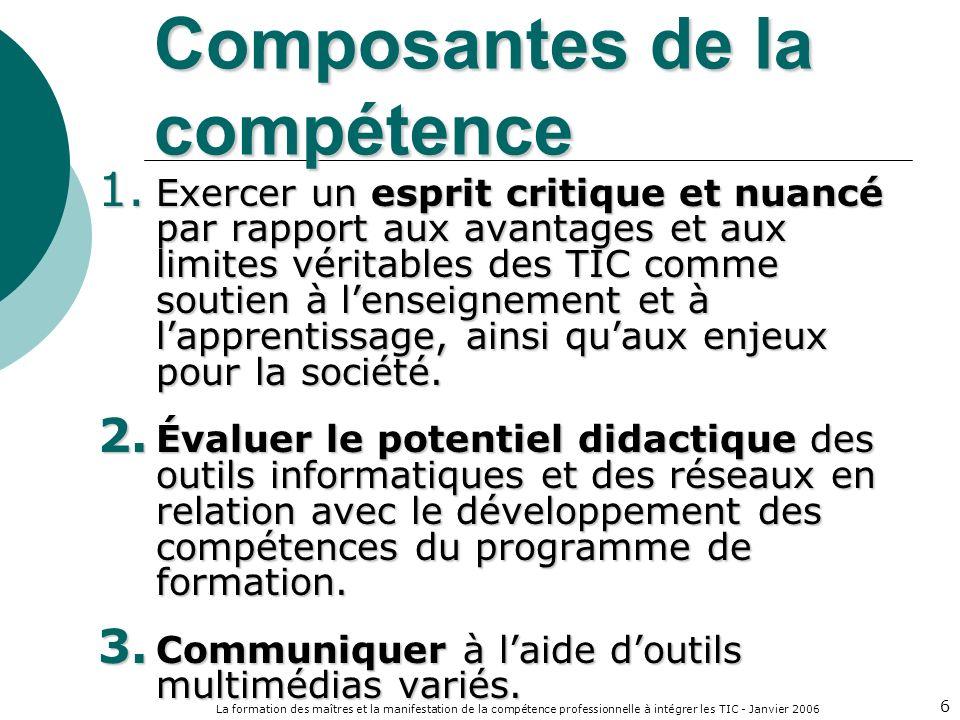 La formation des maîtres et la manifestation de la compétence professionnelle à intégrer les TIC - Janvier 2006 6 Composantes de la compétence 1.