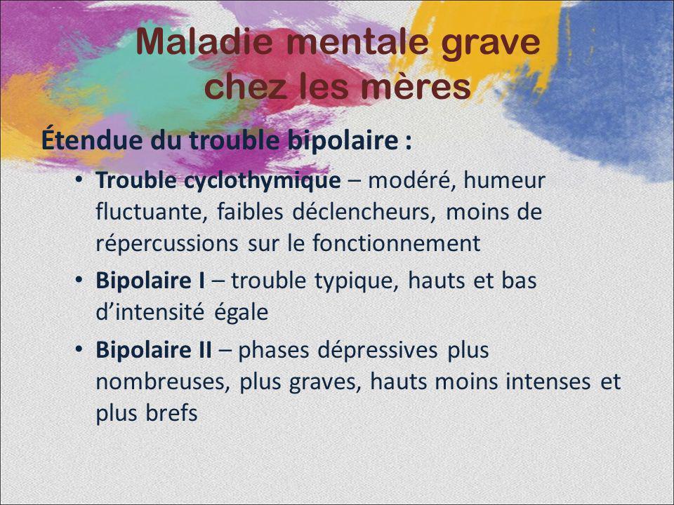 Étendue du trouble bipolaire : Trouble cyclothymique – modéré, humeur fluctuante, faibles déclencheurs, moins de répercussions sur le fonctionnement B