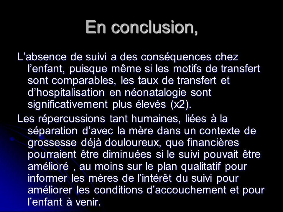 En conclusion, Labsence de suivi a des conséquences chez lenfant, puisque même si les motifs de transfert sont comparables, les taux de transfert et d