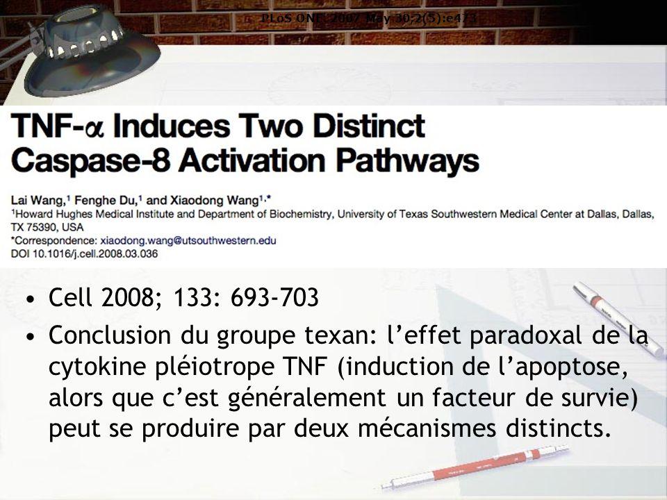 Cell 2008; 133: 693-703 Conclusion du groupe texan: leffet paradoxal de la cytokine pléiotrope TNF (induction de lapoptose, alors que cest généralement un facteur de survie) peut se produire par deux mécanismes distincts.
