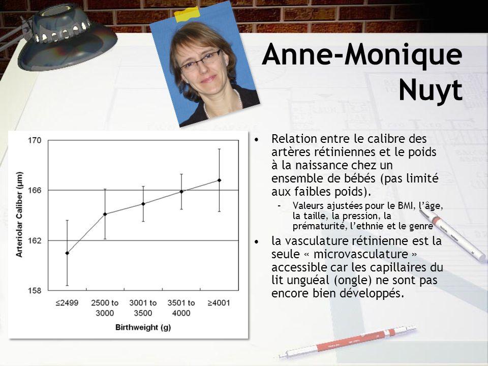 Anne-Monique Nuyt Relation entre le calibre des artères rétiniennes et le poids à la naissance chez un ensemble de bébés (pas limité aux faibles poids).
