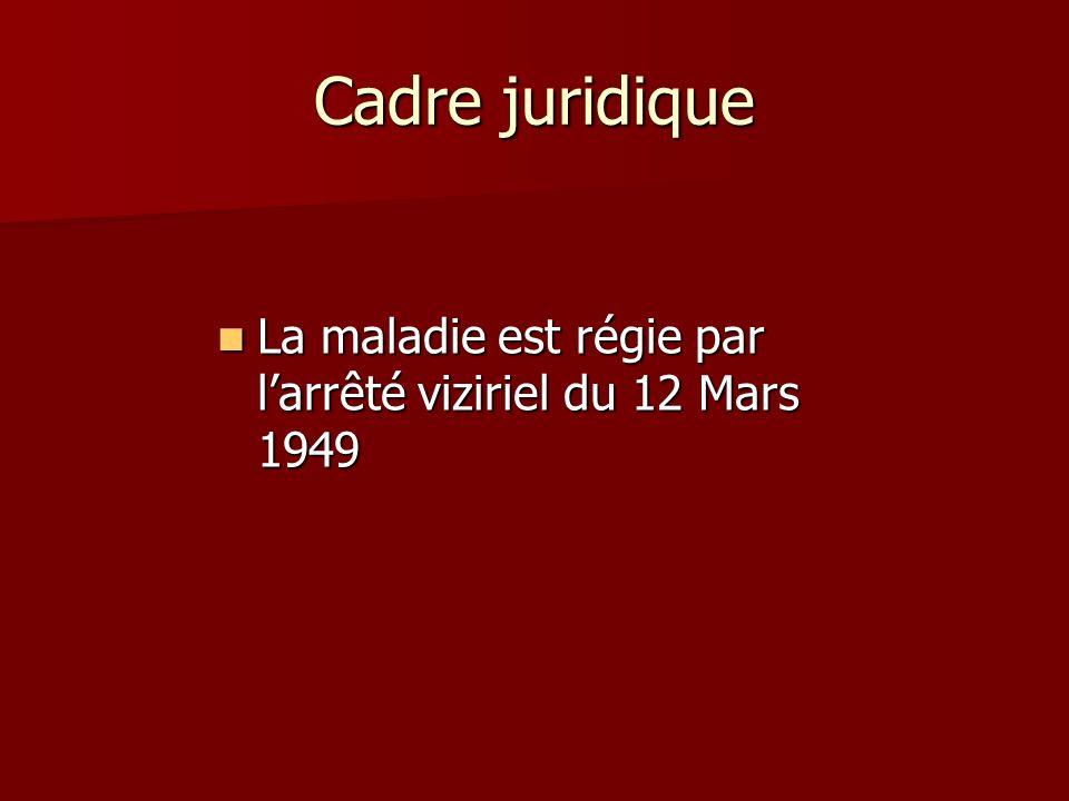 Cadre juridique La maladie est régie par larrêté viziriel du 12 Mars 1949 La maladie est régie par larrêté viziriel du 12 Mars 1949