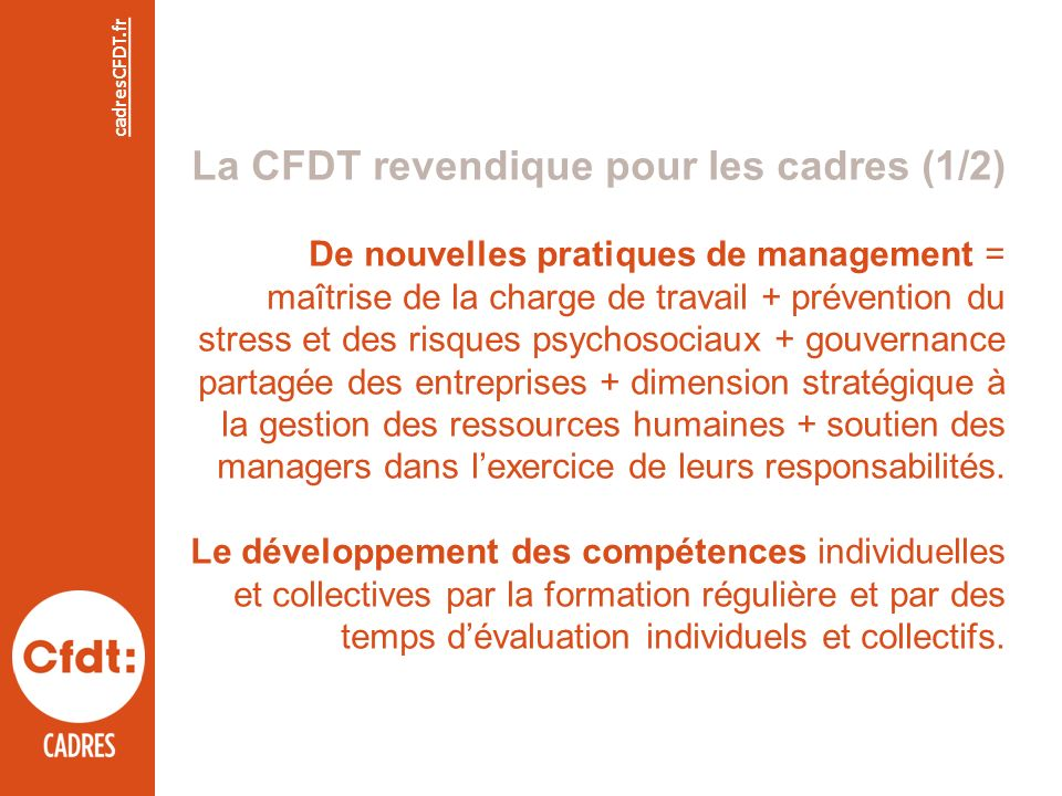 La CFDT revendique pour les cadres (1/2) De nouvelles pratiques de management = maîtrise de la charge de travail + prévention du stress et des risques psychosociaux + gouvernance partagée des entreprises + dimension stratégique à la gestion des ressources humaines + soutien des managers dans lexercice de leurs responsabilités.