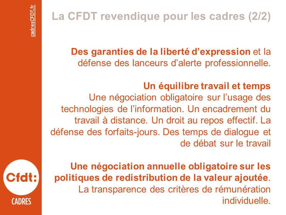 cadresCFDT.fr La CFDT revendique pour les cadres (2/2) Des garanties de la liberté dexpression et la défense des lanceurs dalerte professionnelle.