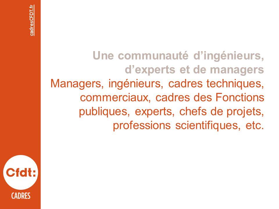 Une communauté dingénieurs, dexperts et de managers Managers, ingénieurs, cadres techniques, commerciaux, cadres des Fonctions publiques, experts, chefs de projets, professions scientifiques, etc.