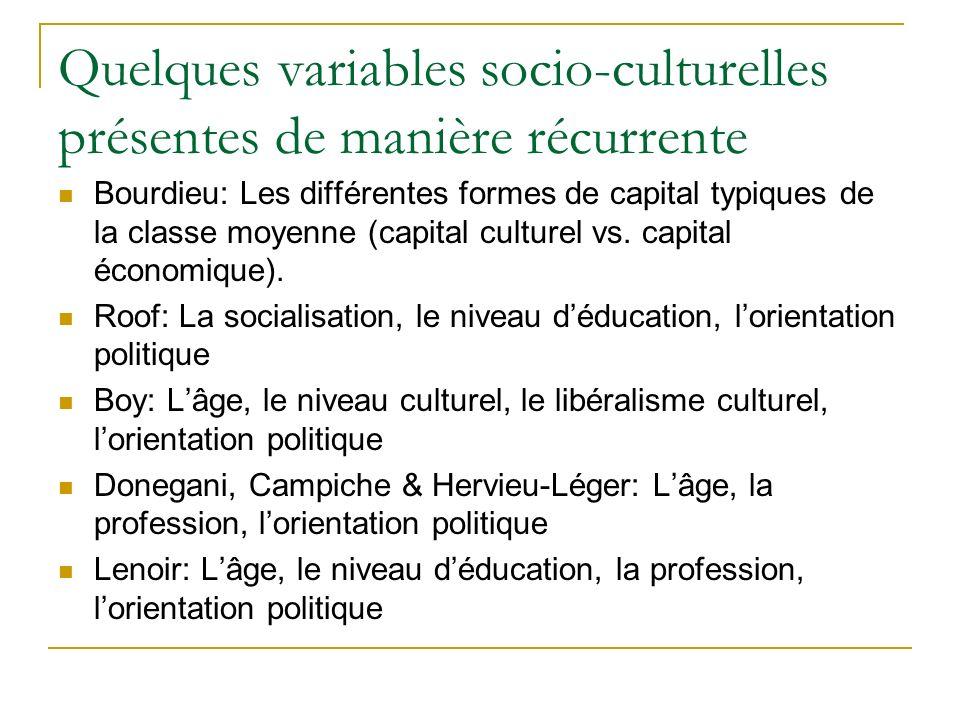 Quelques variables socio-culturelles présentes de manière récurrente Bourdieu: Les différentes formes de capital typiques de la classe moyenne (capital culturel vs.