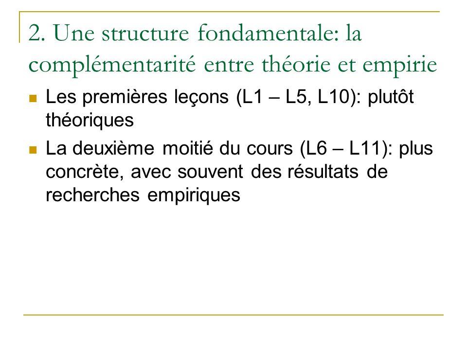 2. Une structure fondamentale: la complémentarité entre théorie et empirie Les premières leçons (L1 – L5, L10): plutôt théoriques La deuxième moitié d