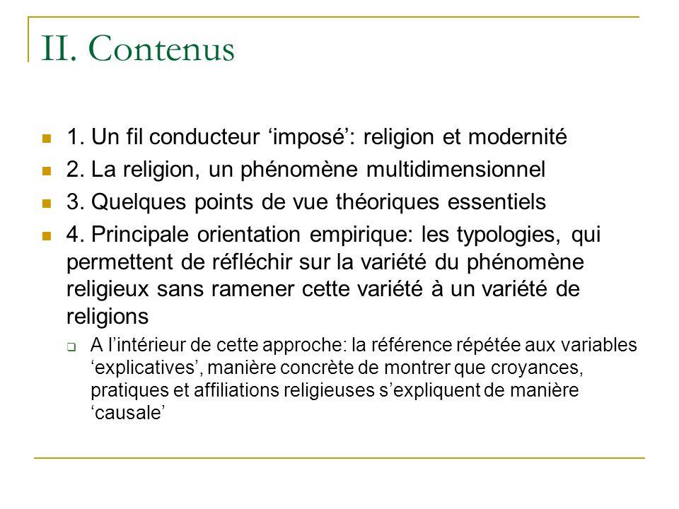 II.Contenus 1. Un fil conducteur imposé: religion et modernité 2.