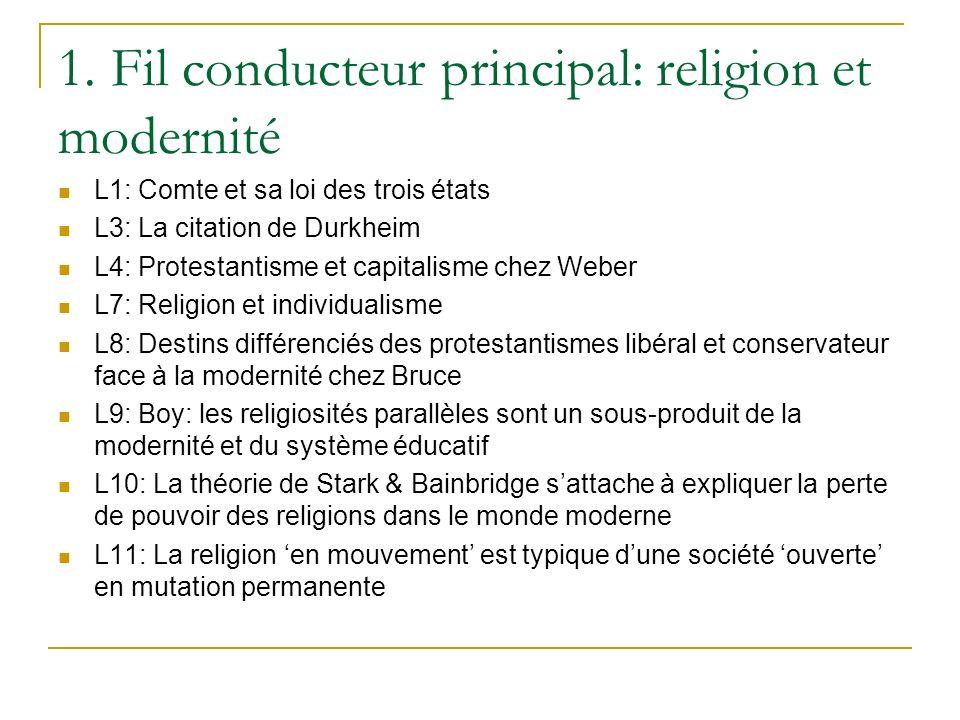 1. Fil conducteur principal: religion et modernité L1: Comte et sa loi des trois états L3: La citation de Durkheim L4: Protestantisme et capitalisme c