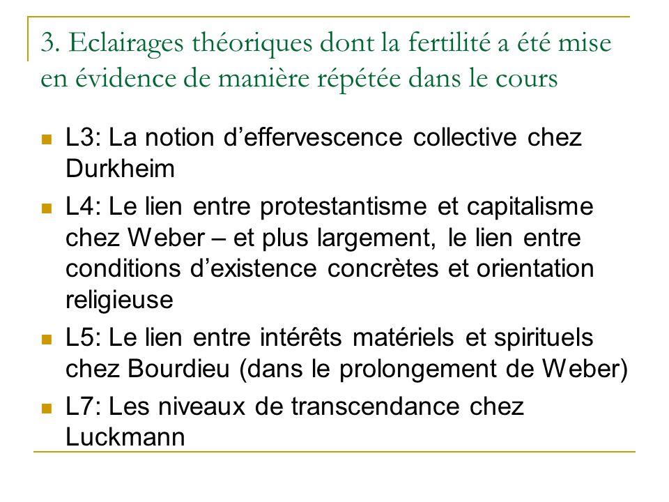 3. Eclairages théoriques dont la fertilité a été mise en évidence de manière répétée dans le cours L3: La notion deffervescence collective chez Durkhe