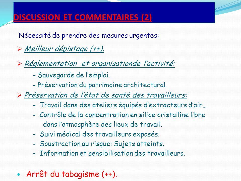 DISCUSSION ET COMMENTAIRES (2) Nécessité de prendre des mesures urgentes: Meilleur dépistage (++). Réglementation et organisationde lactivité: - Sauve