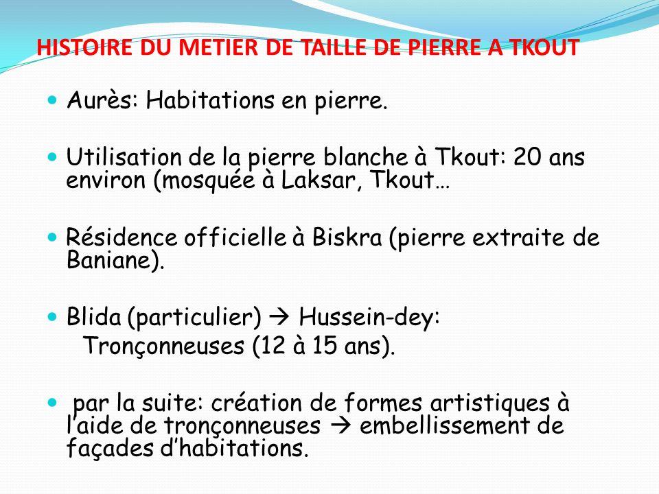 HISTOIRE DU METIER DE TAILLE DE PIERRE A TKOUT Aurès: Habitations en pierre. Utilisation de la pierre blanche à Tkout: 20 ans environ (mosquée à Laksa