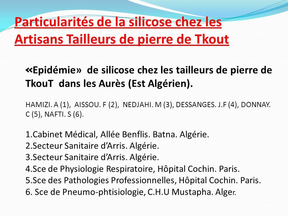 Particularités de la silicose chez les Artisans Tailleurs de pierre de Tkout « Epidémie» de silicose chez les tailleurs de pierre de TkouT dans les Au