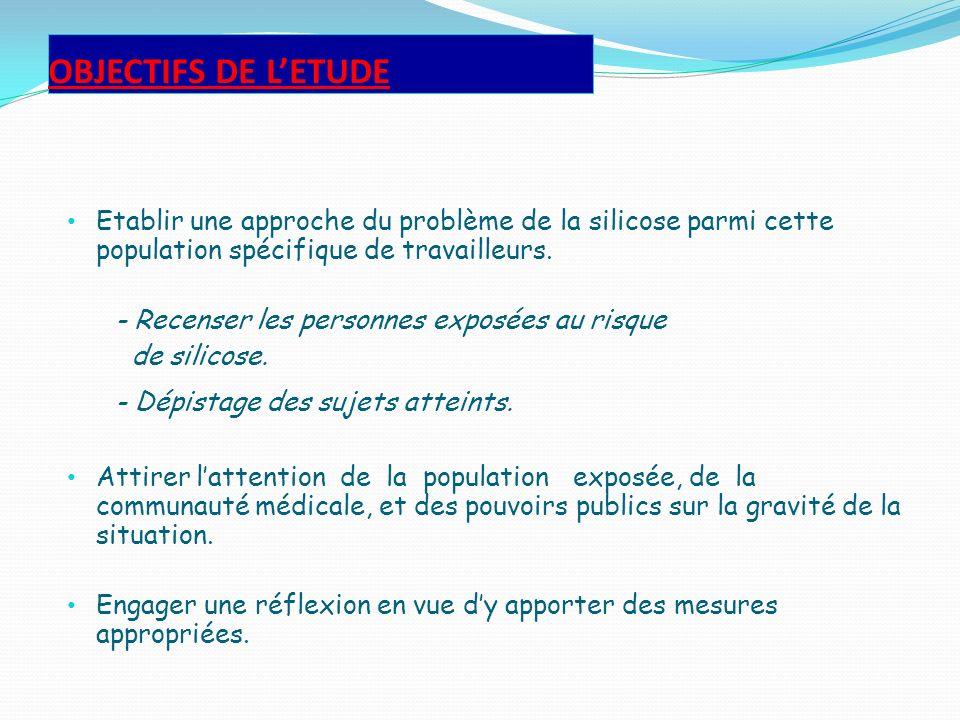 OBJECTIFS DE LETUDE Etablir une approche du problème de la silicose parmi cette population spécifique de travailleurs. - Recenser les personnes exposé