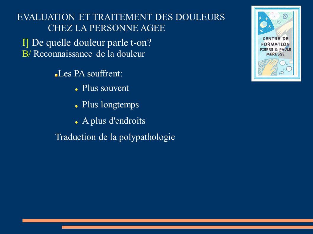 Les PA souffrent: Plus souvent Plus longtemps A plus d'endroits Traduction de la polypathologie I] De quelle douleur parle t-on? B/ Reconnaissance de