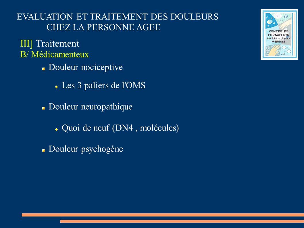 EVALUATION ET TRAITEMENT DES DOULEURS CHEZ LA PERSONNE AGEE III] Traitement B/ Médicamenteux Douleur nociceptive Les 3 paliers de l'OMS Douleur neurop