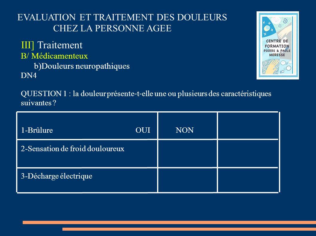 EVALUATION ET TRAITEMENT DES DOULEURS CHEZ LA PERSONNE AGEE III] Traitement B/ Médicamenteux b)Douleurs neuropathiques DN4 QUESTION 1 : la douleur pré