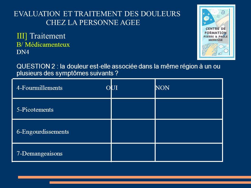 EVALUATION ET TRAITEMENT DES DOULEURS CHEZ LA PERSONNE AGEE III] Traitement B/ Médicamenteux DN4 QUESTION 2 : la douleur est elle associée dans la mêm