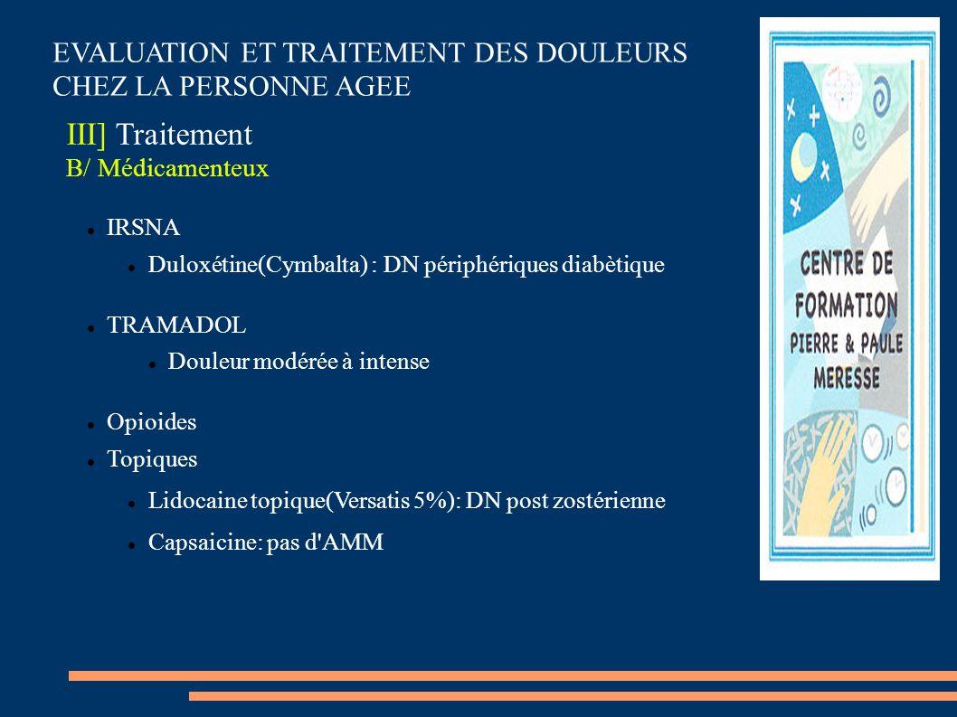 EVALUATION ET TRAITEMENT DES DOULEURS CHEZ LA PERSONNE AGEE III] Traitement B/ Médicamenteux IRSNA Duloxétine(Cymbalta) : DN périphériques diabètique
