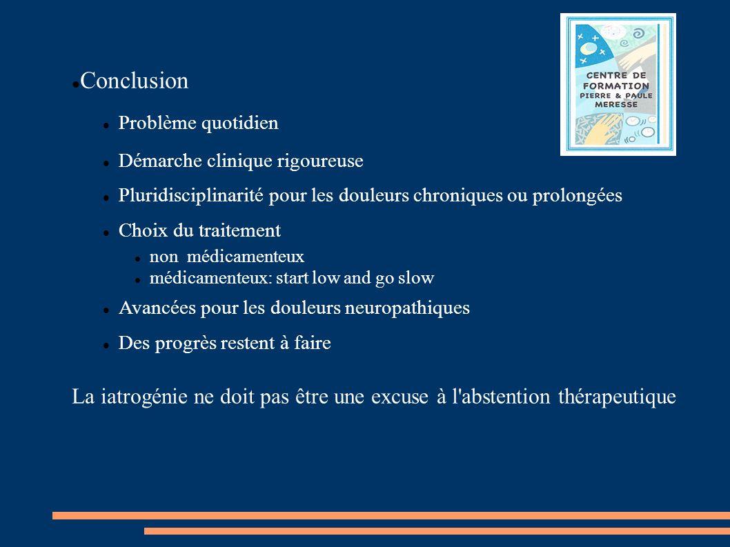 Conclusion Problème quotidien Démarche clinique rigoureuse Pluridisciplinarité pour les douleurs chroniques ou prolongées Choix du traitement non médi