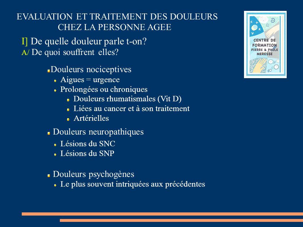Douleurs nociceptives Aigues = urgence Prolongées ou chroniques Douleurs rhumatismales (Vit D) Liées au cancer et à son traitement Artérielles Douleur