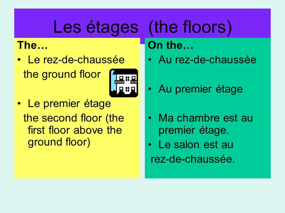 Les étages (the floors) The… Le rez-de-chaussée the ground floor Le premier étage the second floor (the first floor above the ground floor) On the… Au rez-de-chaussée Au premier étage Ma chambre est au premier étage.