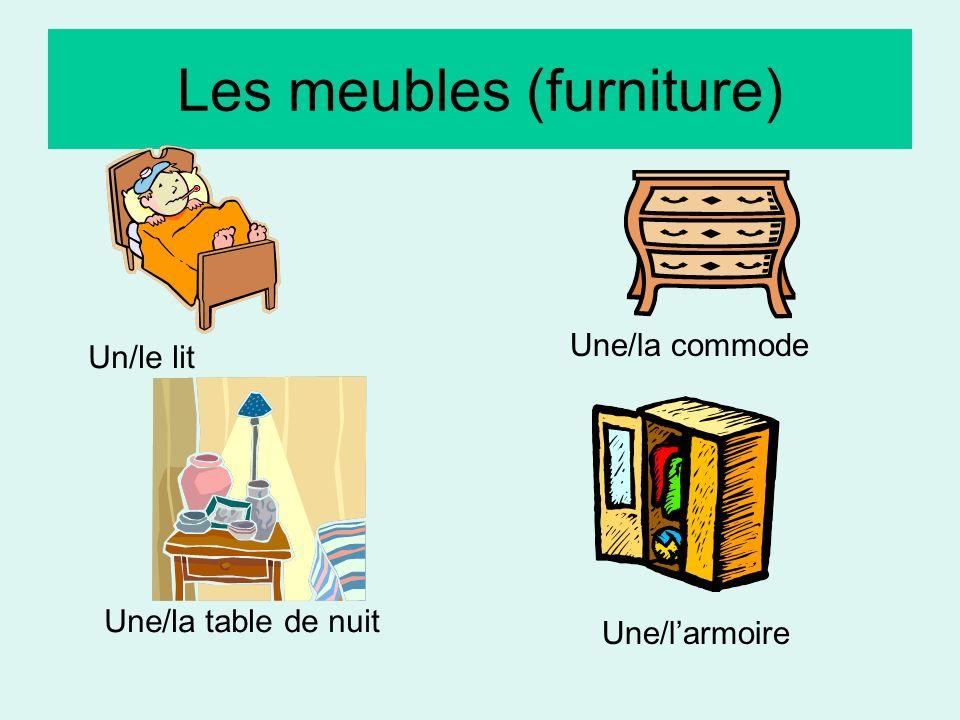 Les meubles (furniture) Un/le lit Une/la commode Une/la table de nuit Une/larmoire