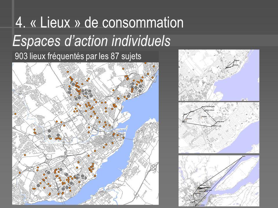 4. « Lieux » de consommation Espaces daction individuels 903 lieux fréquentés par les 87 sujets