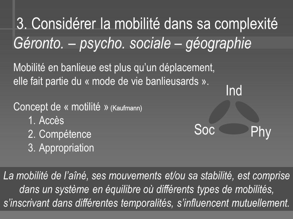 3.Considérer la mobilité dans sa complexité Géronto.