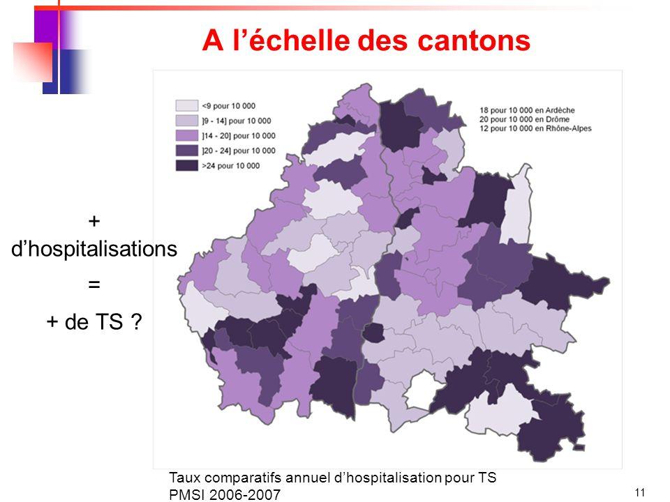 11 A léchelle des cantons Taux comparatifs annuel dhospitalisation pour TS PMSI 2006-2007 + dhospitalisations = + de TS ?