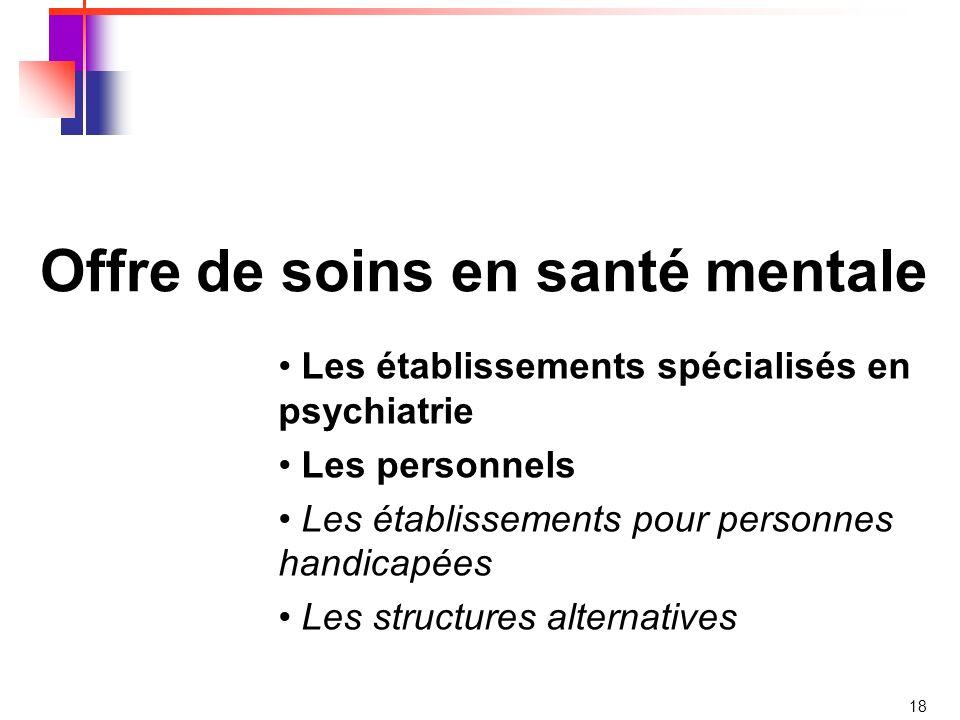 18 Offre de soins en santé mentale Les établissements spécialisés en psychiatrie Les personnels Les établissements pour personnes handicapées Les structures alternatives