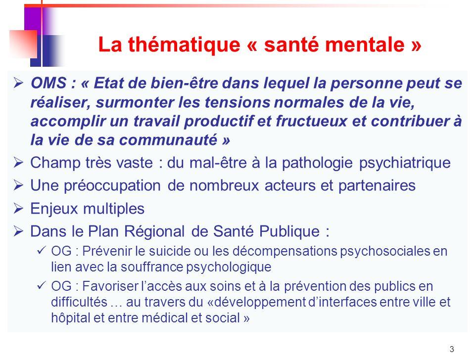 3 La thématique « santé mentale » OMS : « Etat de bien-être dans lequel la personne peut se réaliser, surmonter les tensions normales de la vie, accomplir un travail productif et fructueux et contribuer à la vie de sa communauté » Champ très vaste : du mal-être à la pathologie psychiatrique Une préoccupation de nombreux acteurs et partenaires Enjeux multiples Dans le Plan Régional de Santé Publique : OG : Prévenir le suicide ou les décompensations psychosociales en lien avec la souffrance psychologique OG : Favoriser laccès aux soins et à la prévention des publics en difficultés … au travers du «développement dinterfaces entre ville et hôpital et entre médical et social »
