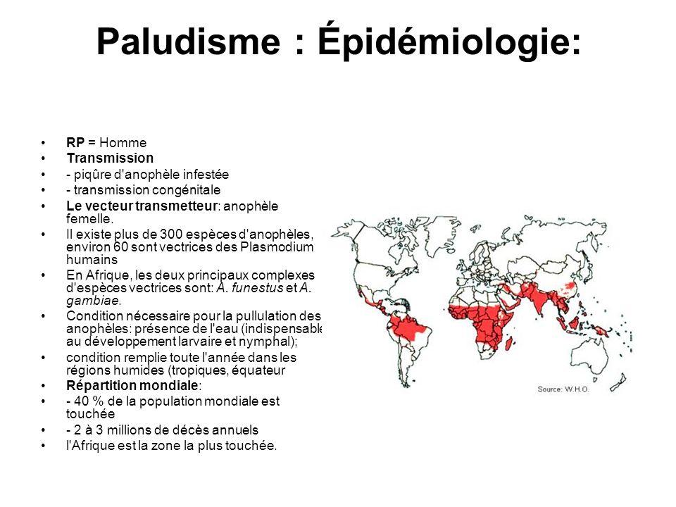 Paludisme : Épidémiologie: RP = Homme Transmission - piqûre d'anophèle infestée - transmission congénitale Le vecteur transmetteur: anophèle femelle.