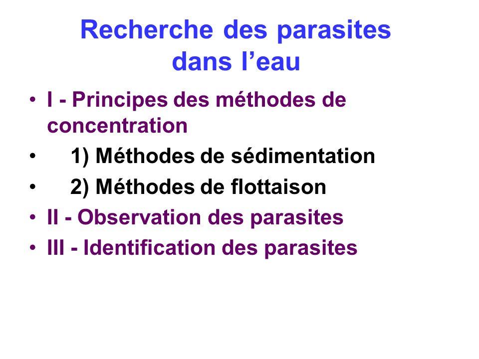 Recherche des parasites dans leau I - Principes des méthodes de concentration 1) Méthodes de sédimentation 2) Méthodes de flottaison II - Observation