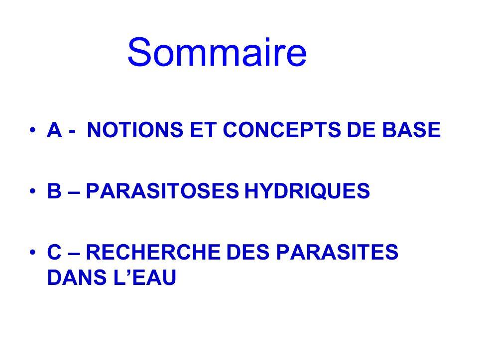 Sommaire A - NOTIONS ET CONCEPTS DE BASE B – PARASITOSES HYDRIQUES C – RECHERCHE DES PARASITES DANS LEAU