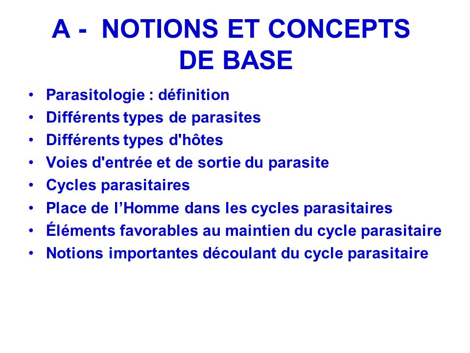 A - NOTIONS ET CONCEPTS DE BASE Parasitologie : définition Différents types de parasites Différents types d'hôtes Voies d'entrée et de sortie du paras