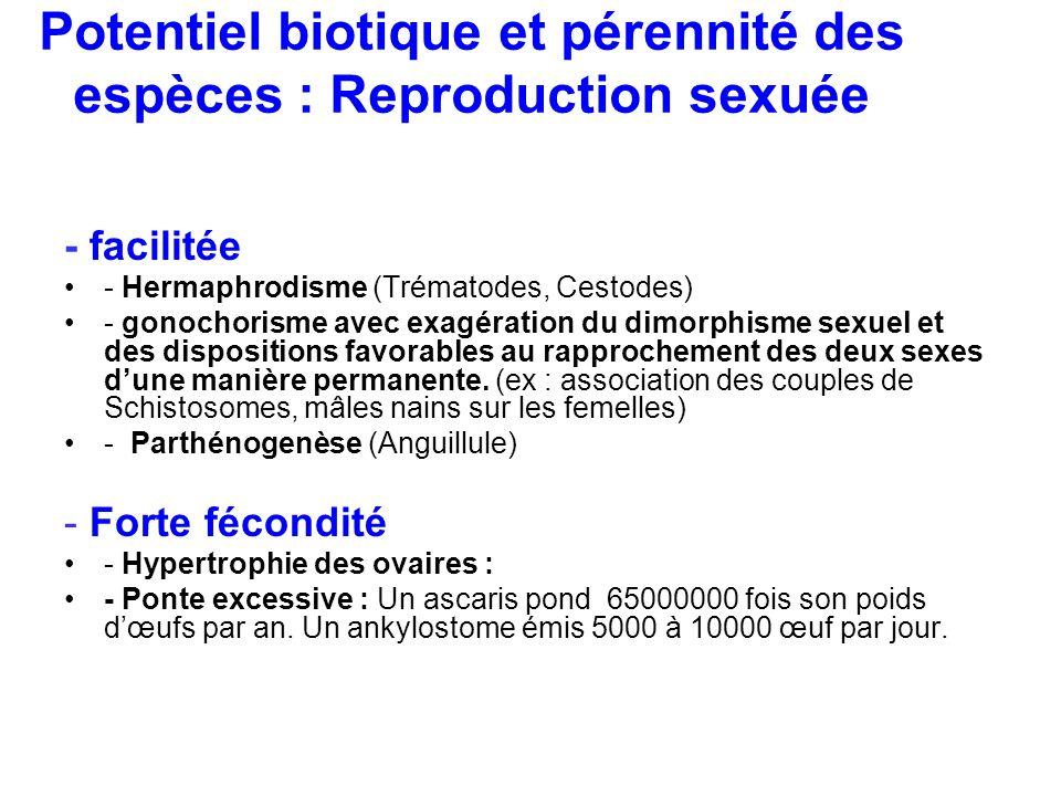 Potentiel biotique et pérennité des espèces : Reproduction sexuée - facilitée - Hermaphrodisme (Trématodes, Cestodes) - gonochorisme avec exagération