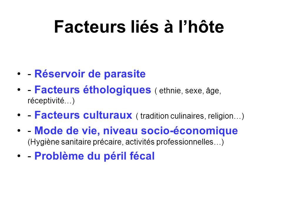 Facteurs liés à lhôte - Réservoir de parasite - Facteurs éthologiques ( ethnie, sexe, âge, réceptivité…) - Facteurs culturaux ( tradition culinaires,